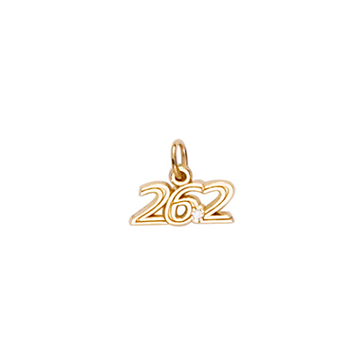 Marathon 26.2 Charm w/ White Spinel, 14K Yellow Gold2745K