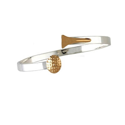 Golf Ball & Tee Bangle Bracelet, Sterling Silver and 14K Gold400SK