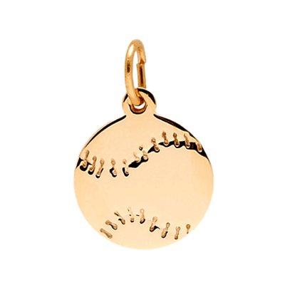 Baseball Disc Charm, 14K Gold7788K