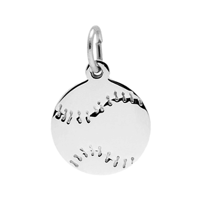 Baseball Disc Charm, Sterling Silver7788S