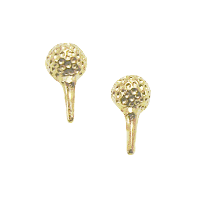 Clubhouse Golf Ball On Tee post earring, Gold Plate