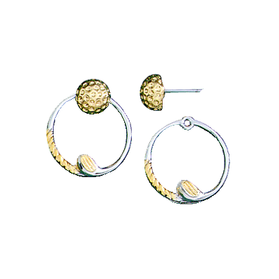 Clubhouse Golf Ball & Circular Clubs Post Earrings