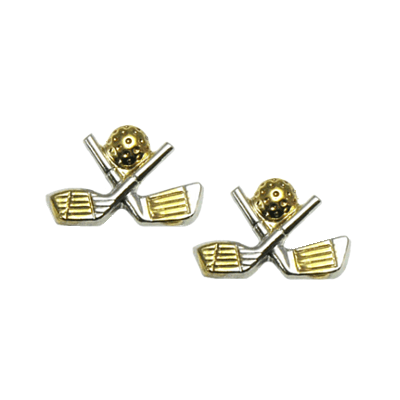 Clubhouse Crossed Golf Clubs Tu-Tone Post EarringsBEP-107T
