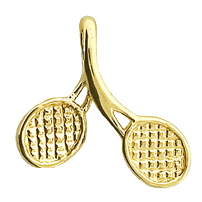 Crossed Tennis Racquet Pendant, 14K Gold1181K