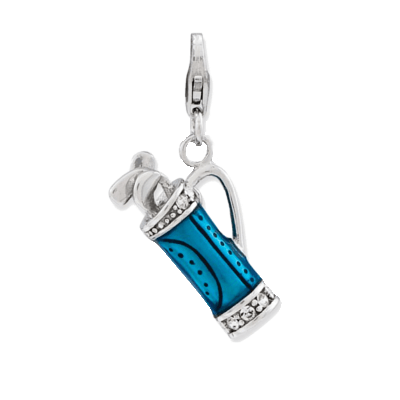 Enameled 3-D Golf Bag and Clubs Charm,GQ-724QCC