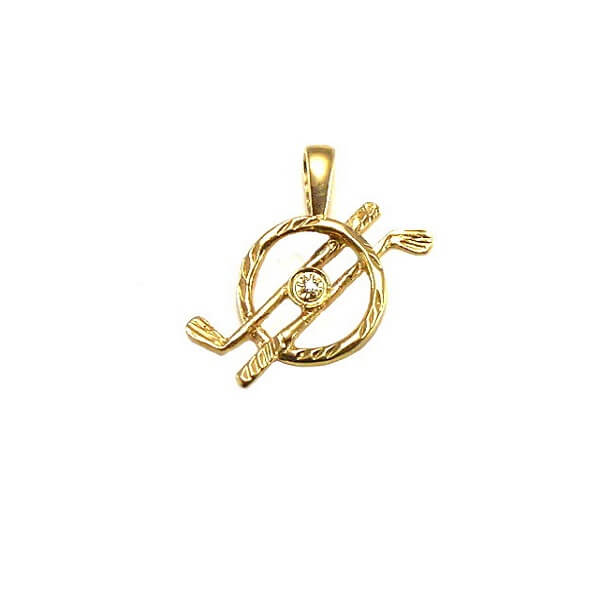 Golf Clubs In Circle with Diamond Pendant, 14K goldG04D