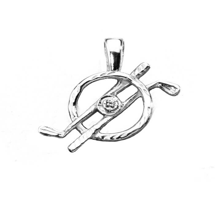 Golf Clubs In Circle with Diamond Pendant, Sterling SilverG04DS