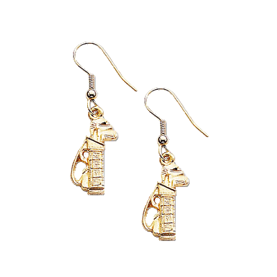 Clubhouse Ladies Golf Bag Earrings, Gold Plate w/ Earwire