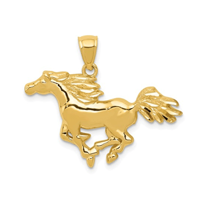 Galloping Horse Pendant 14K Gold