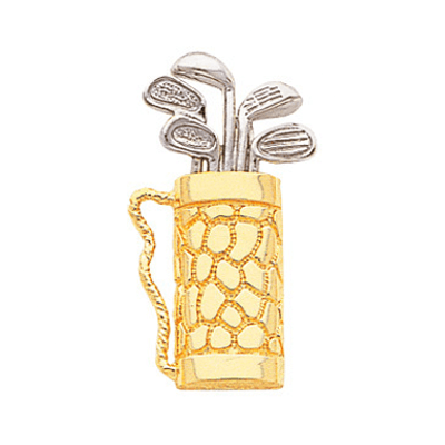 Golf Bag Pendant, 14K White & Yellow Gold198K