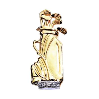 Golf Bag with Diamonds Pendant, 14K GoldG16D