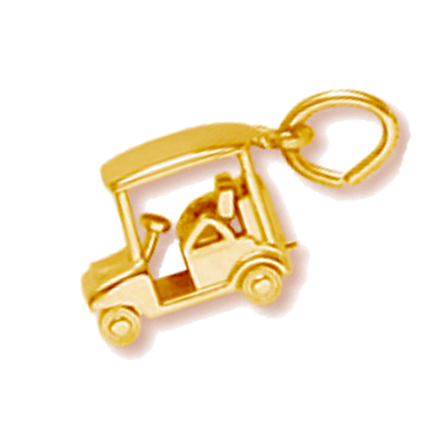 Golf Cart Charm, 14K Gold
