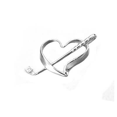 Golf Club in Heart Pendant, Sterling Silver30SZ