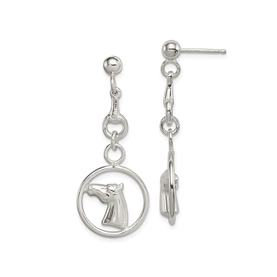 Horse Circle Dangle Post Earrings, Sterling SilverGQ-4754QE