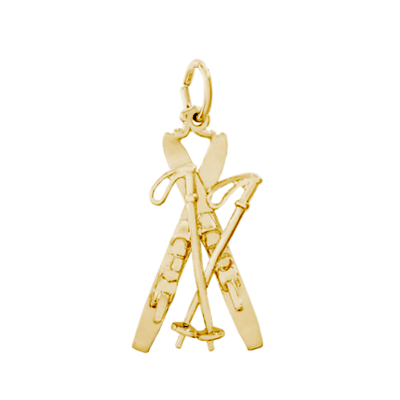 Snow Skis Charm, 14K Gold66K