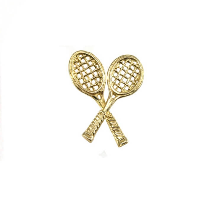 Crossed Tennis Racquets Pendant, 14K GoldT03