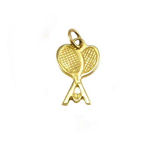 Crossed Tennis Racquets Pendant small, 14K GoldT07