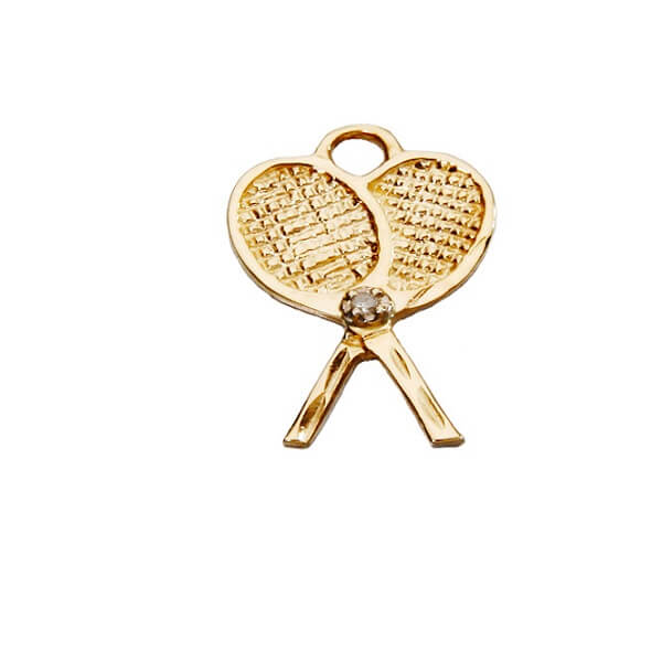 Crossed Tennis Racquets Pendant small, 14K Gold with DiamondT07D