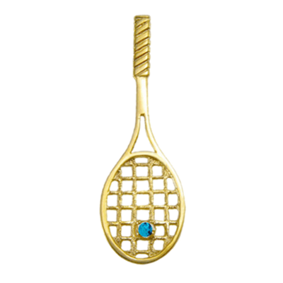 Tennis Racquet with Blue Topaz Ball, 14K GoldT04-Blue Topaz