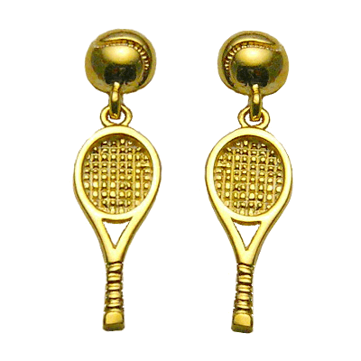 Tennis Racquet and Ball Dangle Post Earrings,14K Gold253K