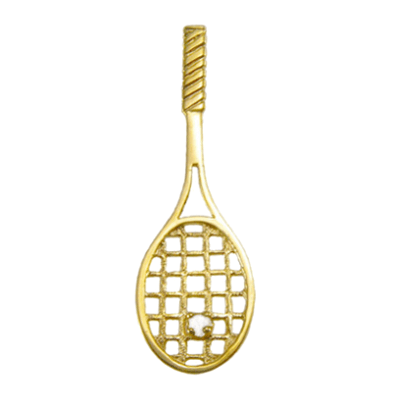 Tennis Racquet Pendant with Pearl Ball, 14K GoldT04P