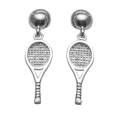 Tennis Racquet & Ball Dangle Earrings, Sterling Silver253S