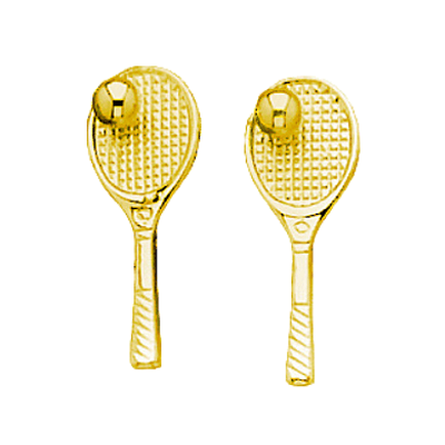 Tennis Racquet & Ball Post Earrings, 14K Gold281K