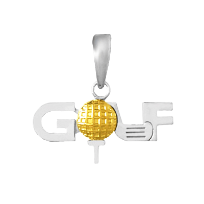 The word GOLF in sterling silver with 14K Gold Ball Pendant