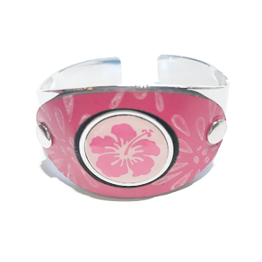 Leather Ball Marker Cuff - Pink & White OPD-LBMC-CPW