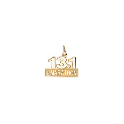 Half Marathon Charm with White Spinel, 14K Gold