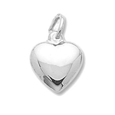 3 Dimensional Heart Charm Sterling Silver