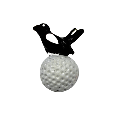 Birdie On White Golf Ball Tac Pin, Black