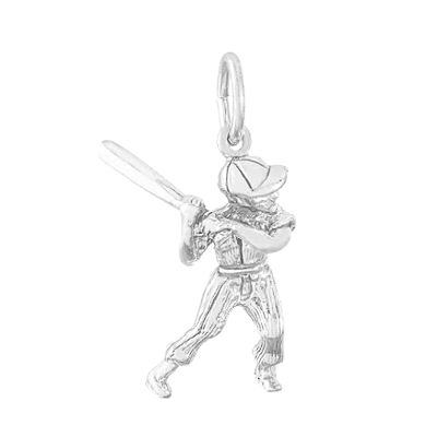 Baseball Player Charm, Sterling Silver