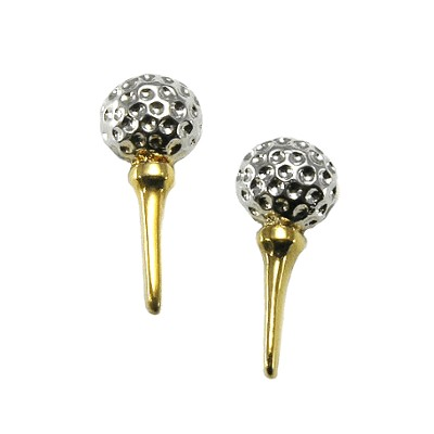 Clubhouse Golf Ball On Tee Tu-tone Earrings