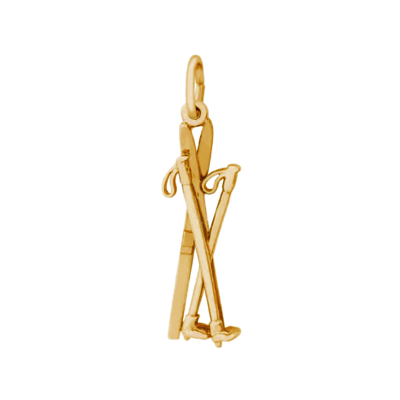 Cross Country Skis Charm, 14K Gold