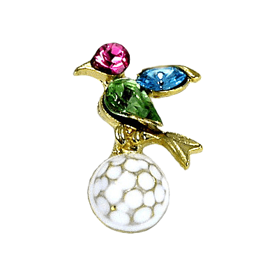 Golf Birdie On Ball Colorful Crystal Tac Pin, Green