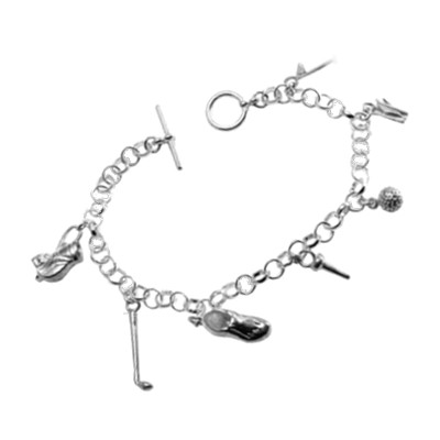 Charm Bracelet with 7 Golf Charms, Sterling Silver