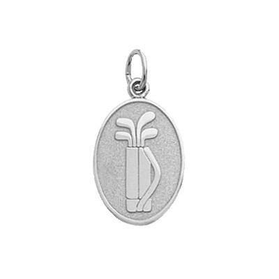 Golf Bag on Disc Charm, Sterling Silver