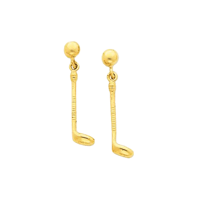 Golf Club Dangle Earrings, 14K Gold