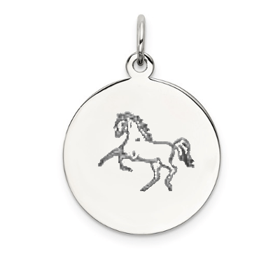 Horse Etched on Disk, Antique Black on Sterling Silver