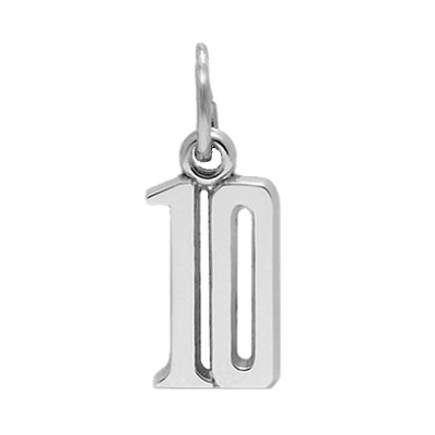 Number Charm, Double Digit, Sterling Silver