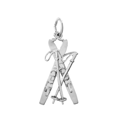 Snow Skis Charm, Sterling Silver
