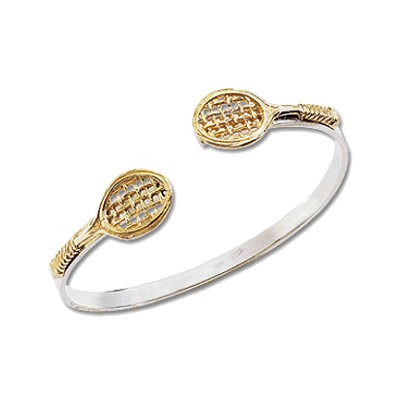 Tennis Bangle Bracelet, Silver with 14K Gold Tennis Racquets