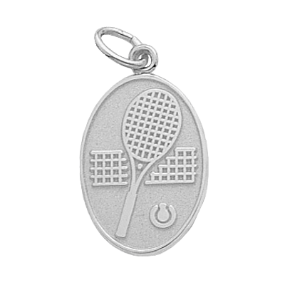 Tennis Charm, Oval, Sterling Silver