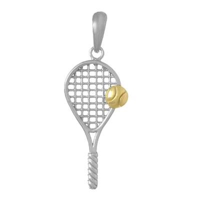 Tennis Racquet with Ball, Sterling Silver