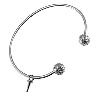 Golf Bangle Bracelet with Tee Sterling Silver